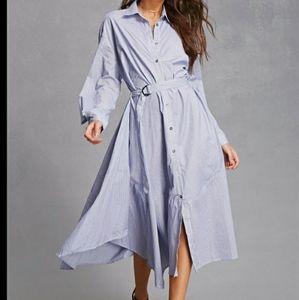Love In woven asymmetrical stripped shirt dress